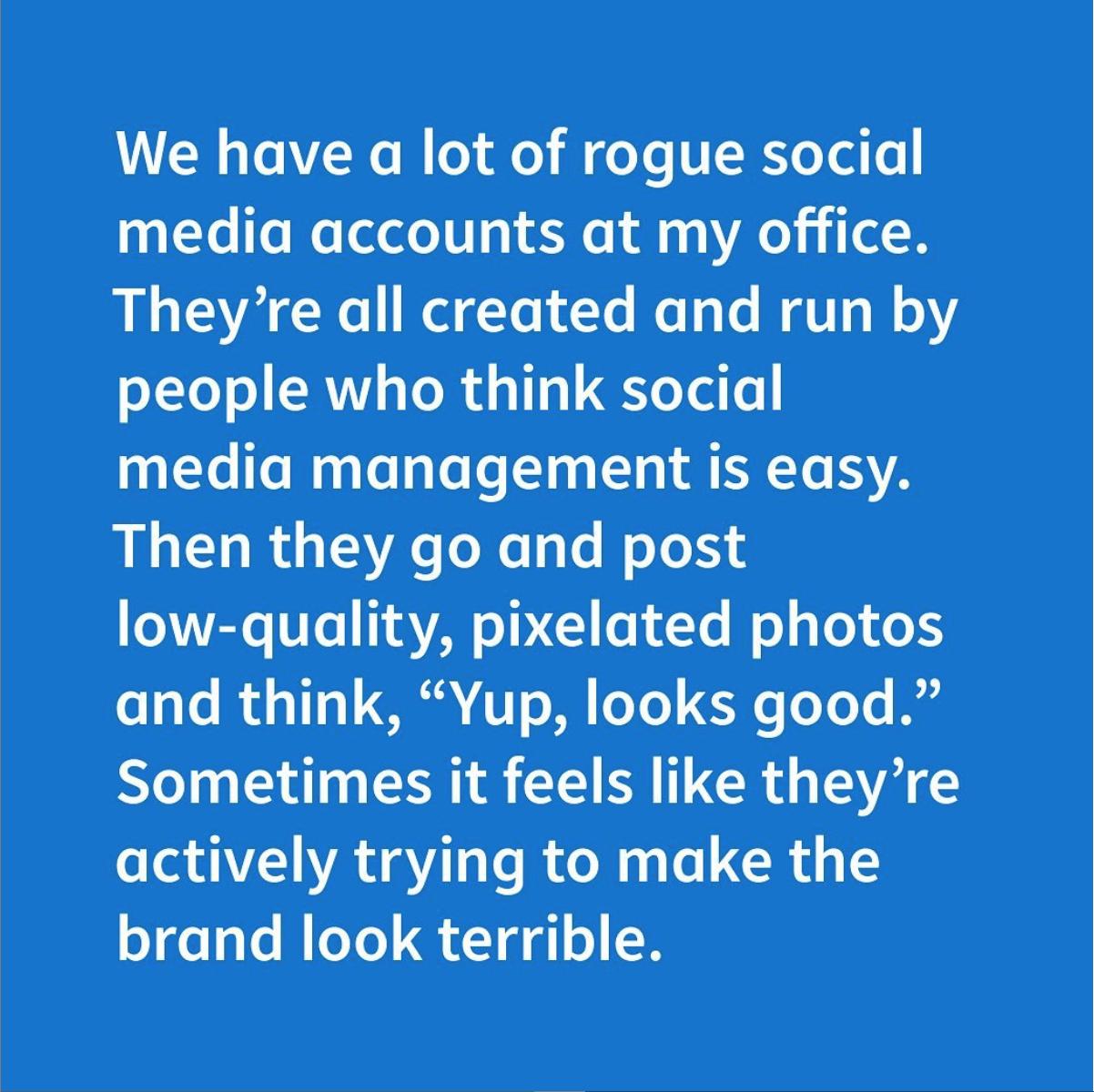 Rogue social media accounts by Social Media Tea