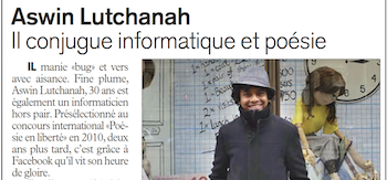 Press article: Aswin Lutchanah L'Express Maurice